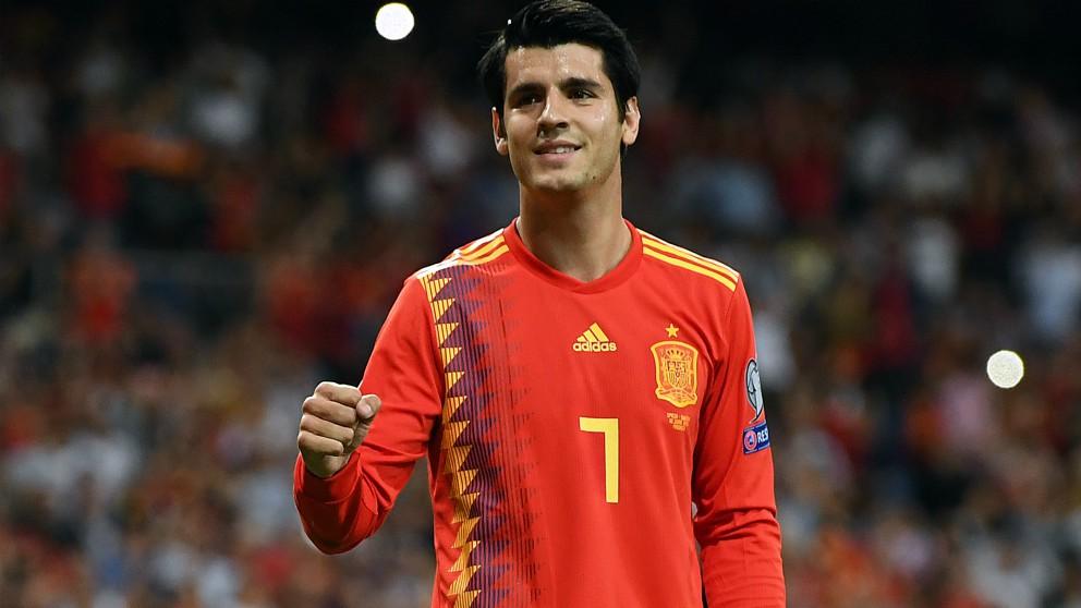 Morata celebra un gol con la selección. (Getty)