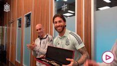 Sergio Ramos, homenajeado por la Federación.