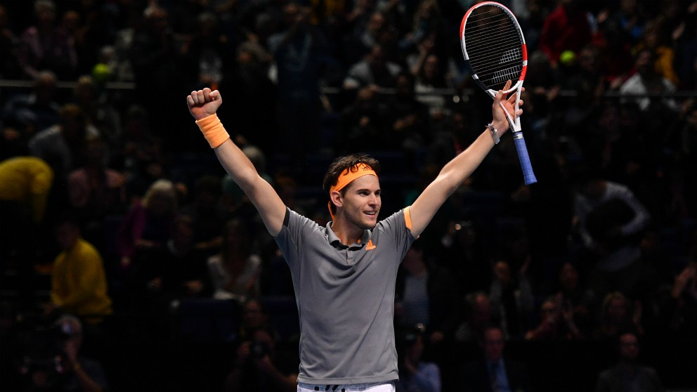 Thiem celebra su triunfo ante Zverev en la Copa Masters 2019. (AFP)