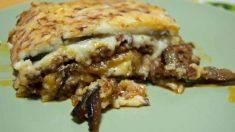 Receta de Lasaña de berenjena, queso y setas