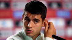 Morata, en rueda de prensa. (EFE)