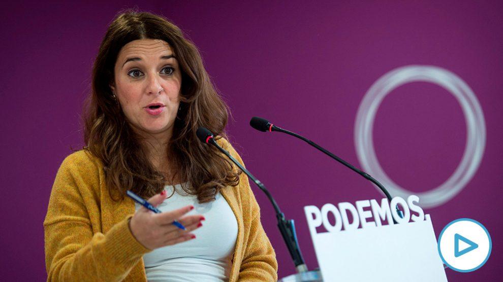 La portavoz de Podemos, Noelia Vera, interviene en rueda de prensa tras el Consejo de Coordinación de la formación, este lunes en Madrid. (Foto: EFE)