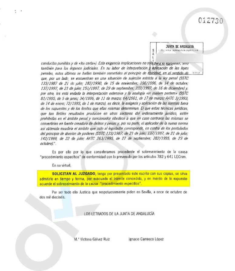 """El PSOE pidió a la juez en 2016 archivar el caso de los ERE por """"no existir pruebas"""" contra los condenados Chaves y Griñán"""