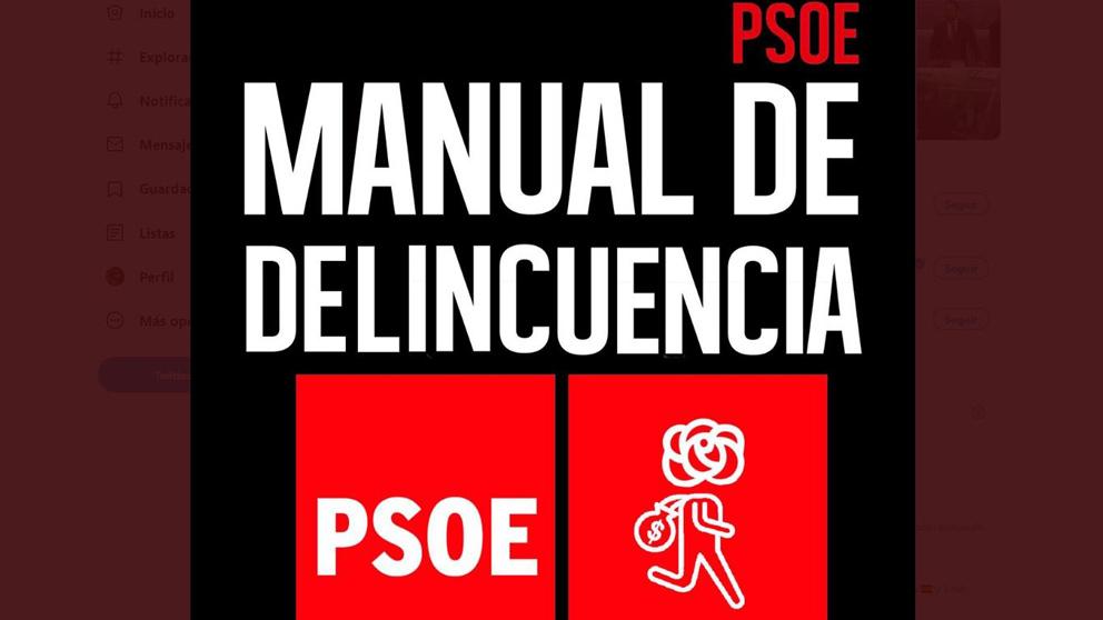 PSOE: Manual de delincuencia. El montaje realizado por Vox jugando con el libro de Pedro Sánchez