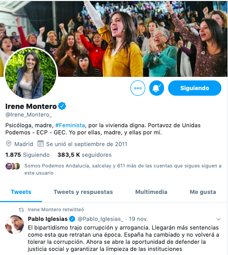 Último mensaje de Irene Montero