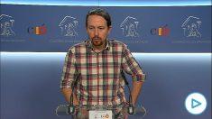 Pablo Iglesias en rueda de prensa tras la sentencia de Gürtel