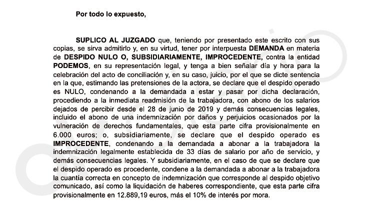 La escolta de Irene Montero reclama a su ex jefa en el juzgado 30.000 € de horas extras no abonadas