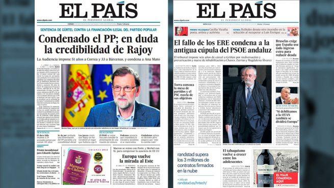 La doble vara de 'El País': se escandalizó con la Gürtel pero oculta el robo de 680 millones de los ERE