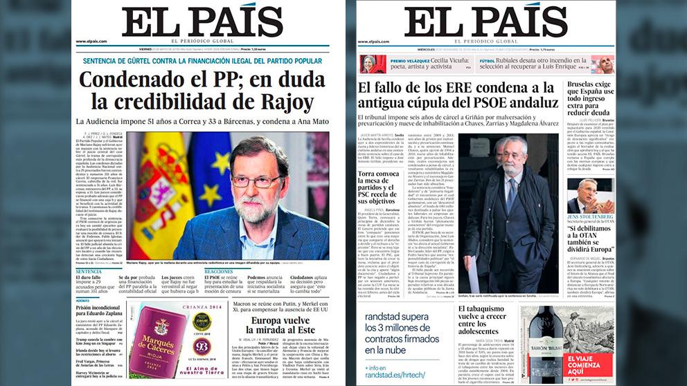 Portadas de El País sobre la Gürtel y los ERE