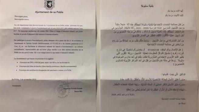 Un pueblo de Baleares se olvida del castellano: envía cartas en catalán y árabe para escolarizar a los niños