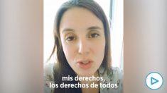 Vídeo de Irene Montero defendiendo los derechos sociales antes de despedir a su escolta