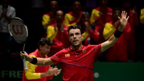 Roberto Bautista, en un partido de la Copa Davis. (AFP)