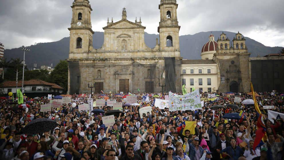 Imagen de la manifestación que tuvo lugar en Bogotá. (Ep)