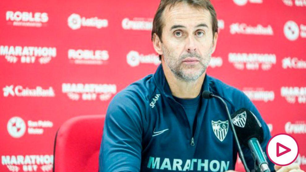 Julen Lopetegui en rueda de prensa (Sevilla Fútbol Club)