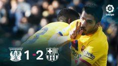 El Barcelona se impuso 1-2 en Leganés.