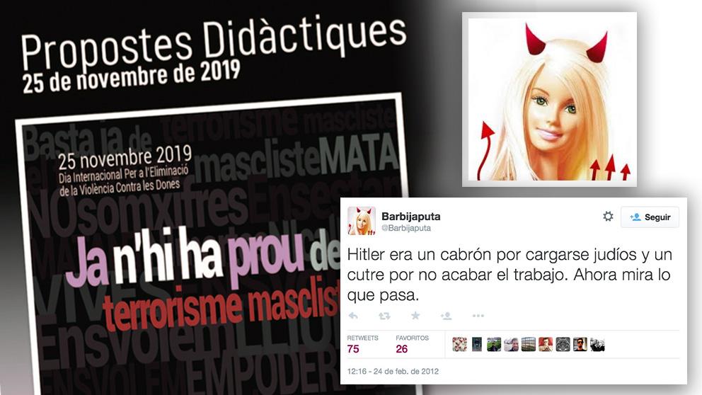 Portada del cuaderno de actividades didácticas editado por el STEI y uno de los tuits antisemitas publicados por Barbijaputa.