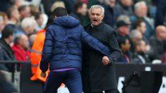 Mourinho celebra uno de los goles del Tottenham. (Getty)