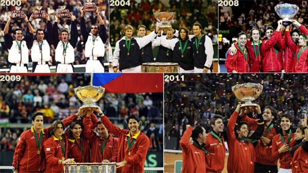 Las cinco Copas Davis que había ganado España previamente.