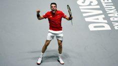 Bautista celebra un punto en la final de la Copa Davis. (AFP)