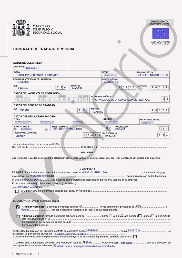 El contrato de la escolta de Montero prueba que no se firmó con una empresa de seguridad como exige la ley