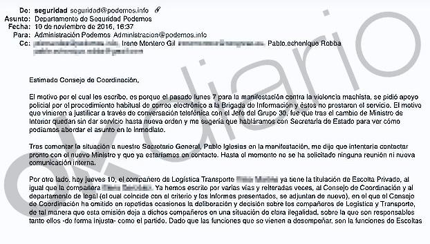 Éste es el mail del jefe de seguridad de Podemos avisando a Montero de la situación ilegal de su escolta