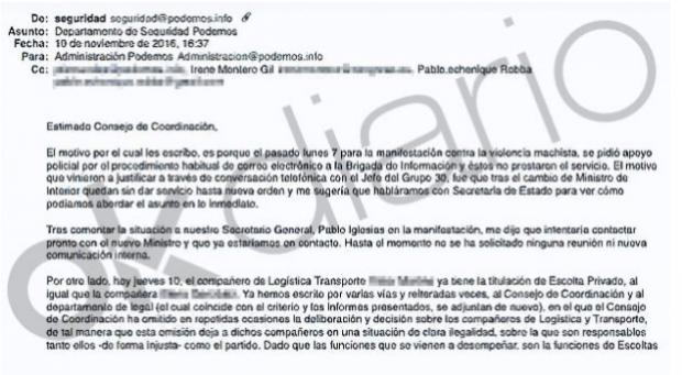 Podemos denunció ante la UE el intrusismo en la seguridad privada pese a la escolta 'fake' de Montero