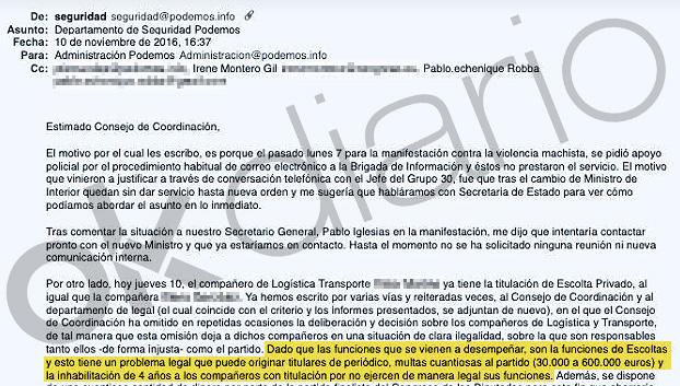 El jefe de seguridad de Podemos avisó que el 'caso escolta' de Montero acabaría en «titulares de periódico»