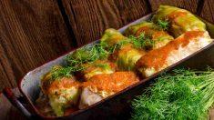 Receta de Rollitos de col rellenos de salmón con crema de queso