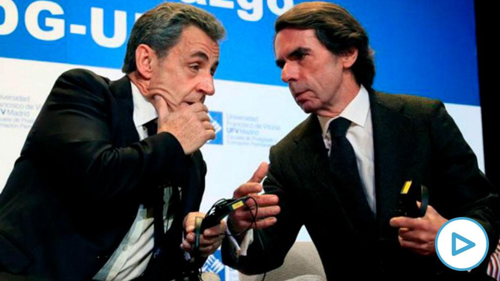 José María Aznar y Nicolás Sarkozy, hoy en Madrid. (Efe)