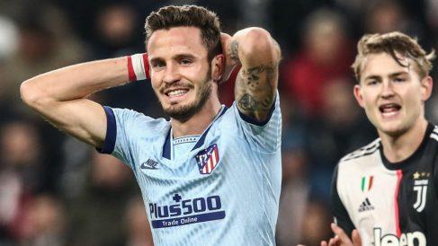 Saúl se lamenta durante el Juventus – Atlético. (AFP)