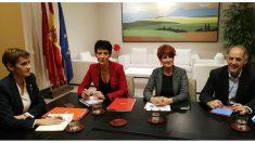 María Chivite, este miércoles, con representantes de Bildu.