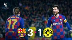 Leo Messi y Griezmann se abrazaron ante el Borussia.