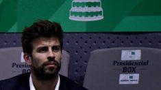 Piqué, en un partido de la Copa Davis. (AFP)