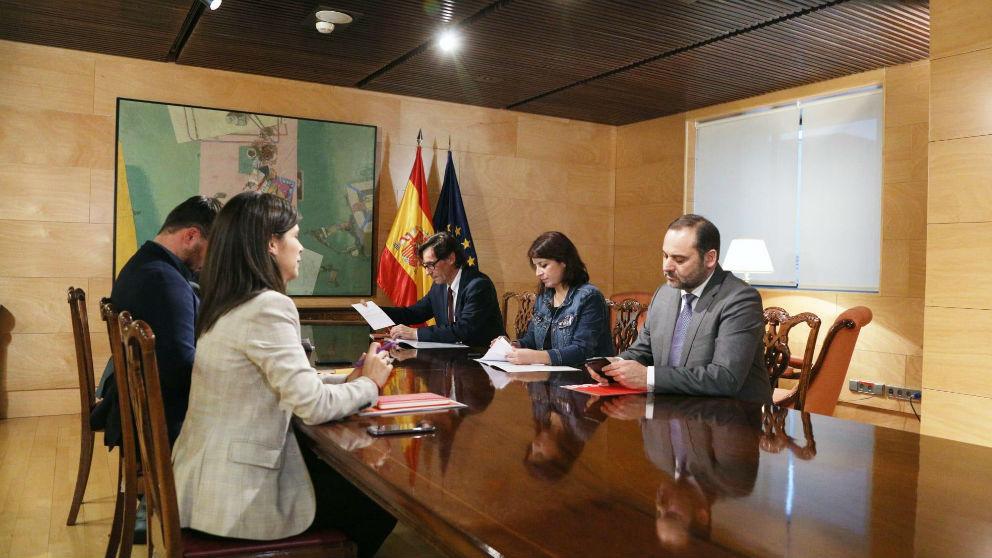 PSOE y ERC, este jueves, en el Congreso.