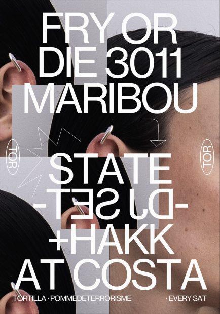 Flyer de Tortilla este fin de semana con la visita de Maribou State.