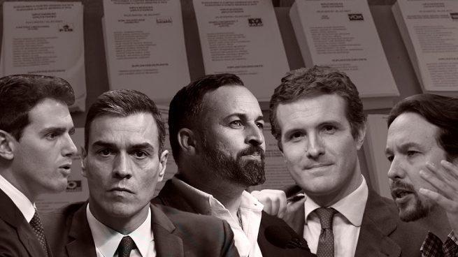 Albert Rivera (C's), Pedro Sánchez (PSOE), Santiago Abascal (VOX), Pablo Casado (PP) y Pablo Iglesias (Podemos), los líderes de los cinco partidos políticos mayoritarios de cara a las elecciones del 10-N.