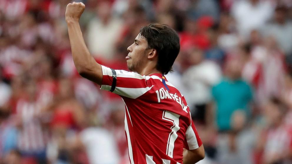 Joao Félix celebra un gol con el Atlético de Madrid. (Getty)