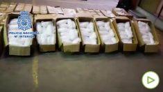 Alijo de 631 kilos de metanfetamina en Badalona.