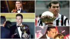 Messi, Cristiano, Zidane o Ronaldinho, ganadores del Balón de Oro.