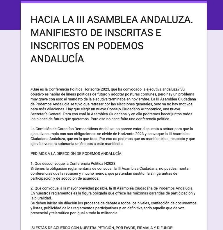 Manifiesto contra Teresa Rodríguez.