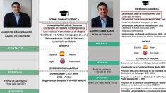 Antes y después del currículum del alcalde de Galapagar.