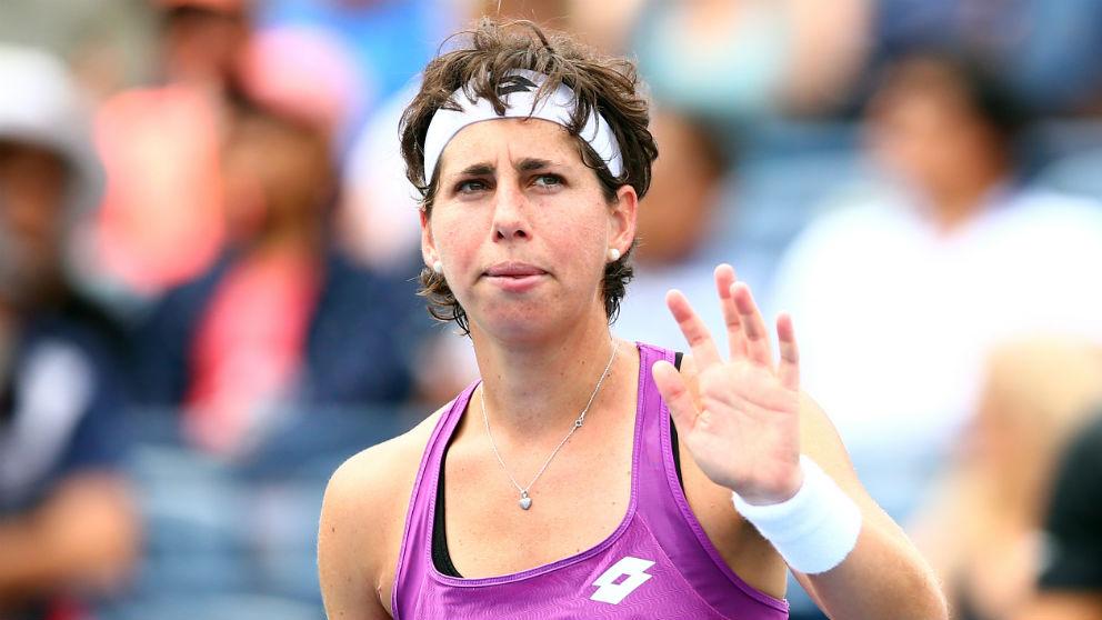 Carla Suárez, en un partido del torneo de Toronto. (Getty)
