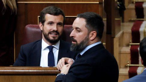 Pablo Casado y Santiago Abascal, en el Congreso.