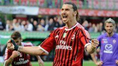 Ibrahimovic celebra un gol con el Milan. (Getty)