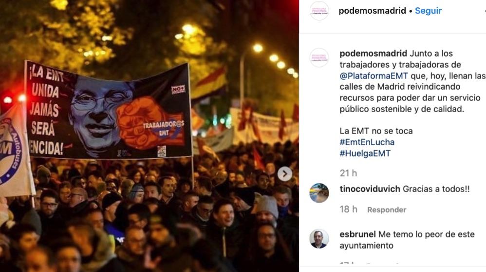 Imagen de Podemos con el puñetazo a Almeida.