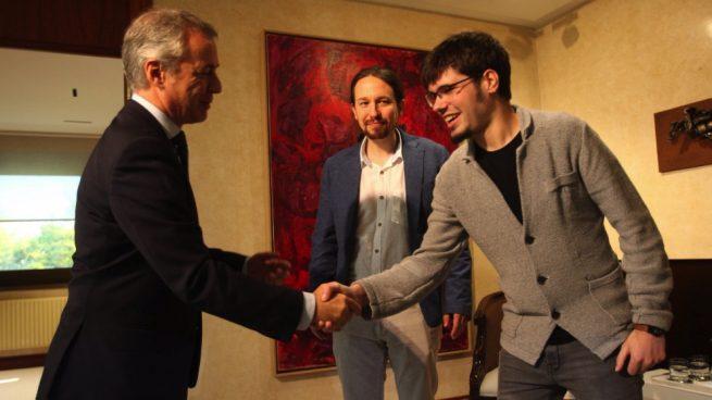 podemos Iñigo Urkullu, Pablo Iglesias y Lander Martínez, en imagen de archivo. (Foto. EP)