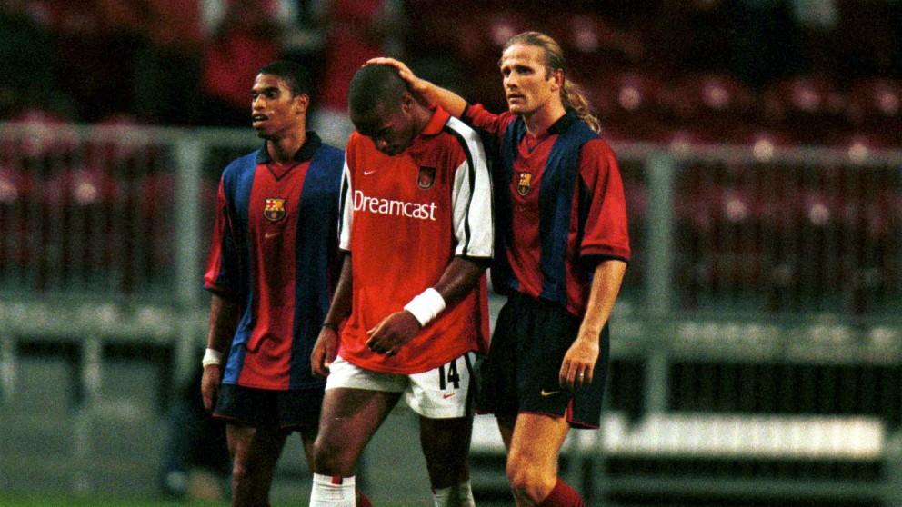 Petit, a la derecha, con la camiseta del Barcelona