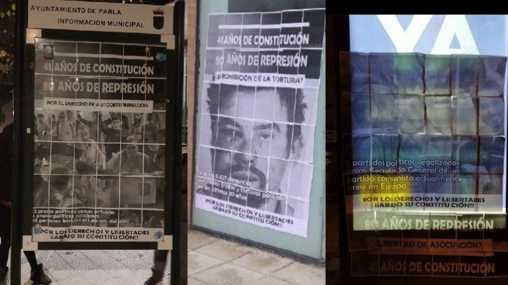Alguno de los carteles colocados por grupos vinculados a Podemos.
