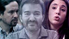 José Manuel Calvente entre Pablo Iglesias e Irene Montero