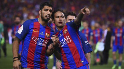Luis Suárez y Neymar durante la época del brasileño en el Barça. (AFP)